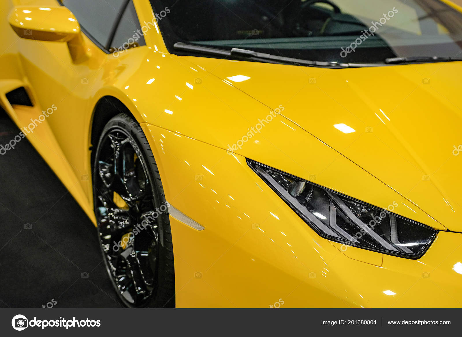 Luxury Yellow Car Headlight Close Concept Expensive Sports Auto