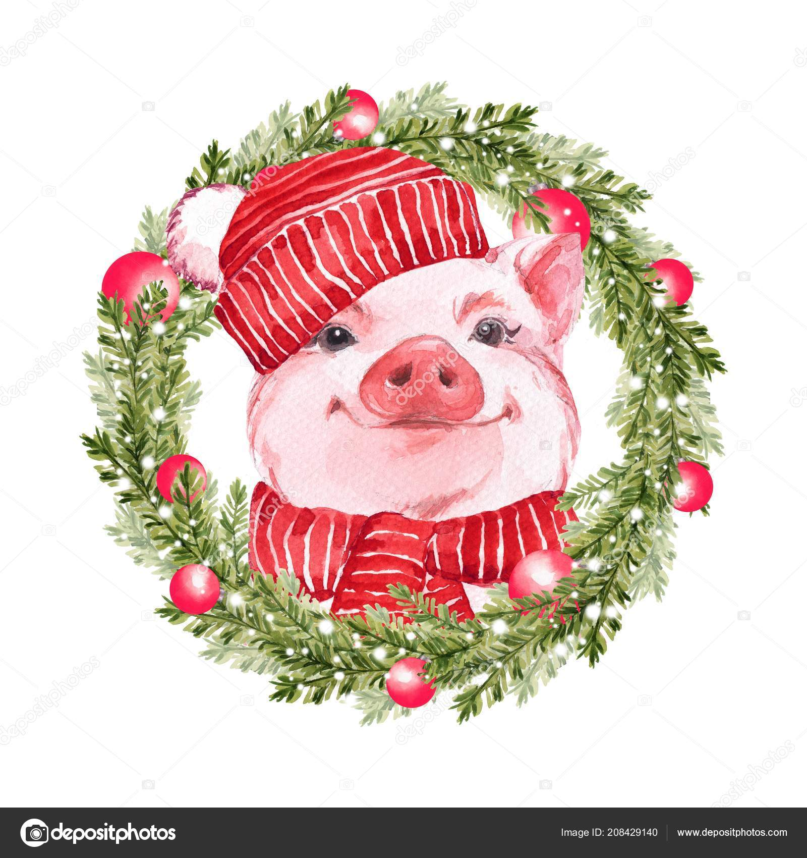 funny pig and christmas wreath cute watercolor illustration stock