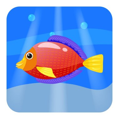 Cute Tropical fish, red color in sea, ocean, cartoon style, vector illustration, isolated