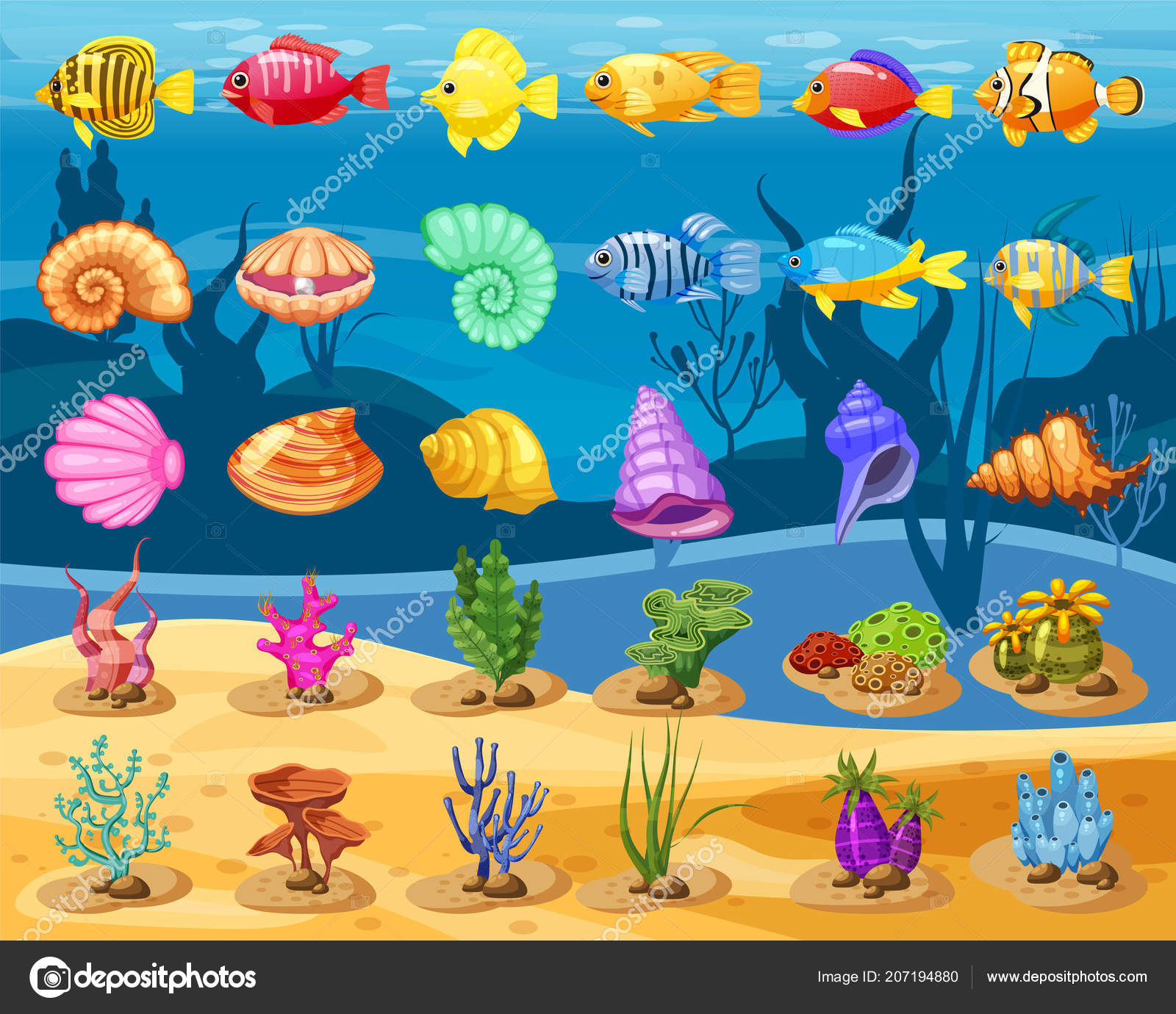 cartoon vector game icons with seashell colorful coral reef