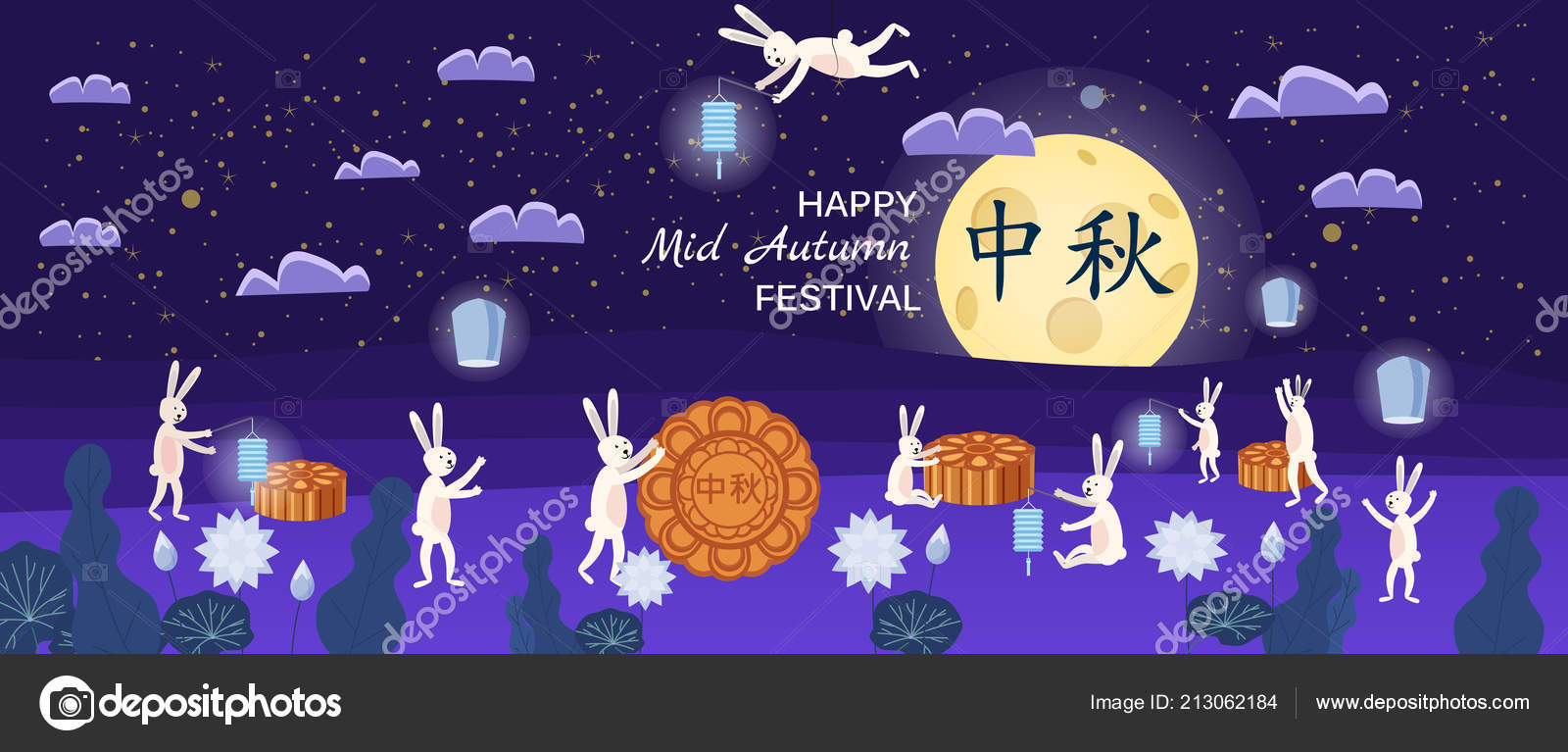 Mid Autumn Festival Moon Cake Festival Hares Are Happy Holidays In