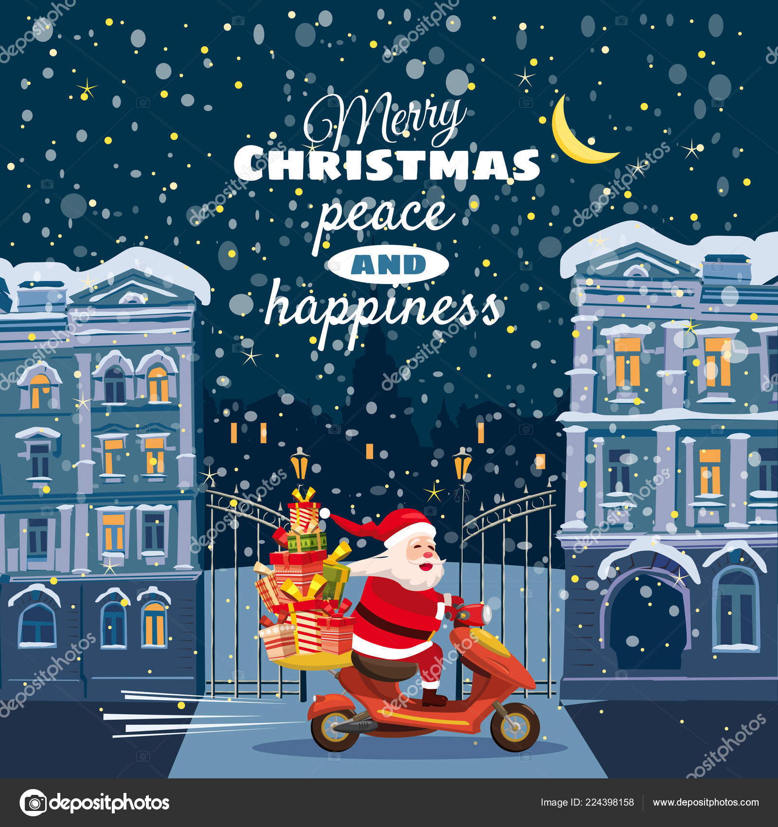 Merry Christmas and Happy New Year, Happy Santa Claus with a gifts ...