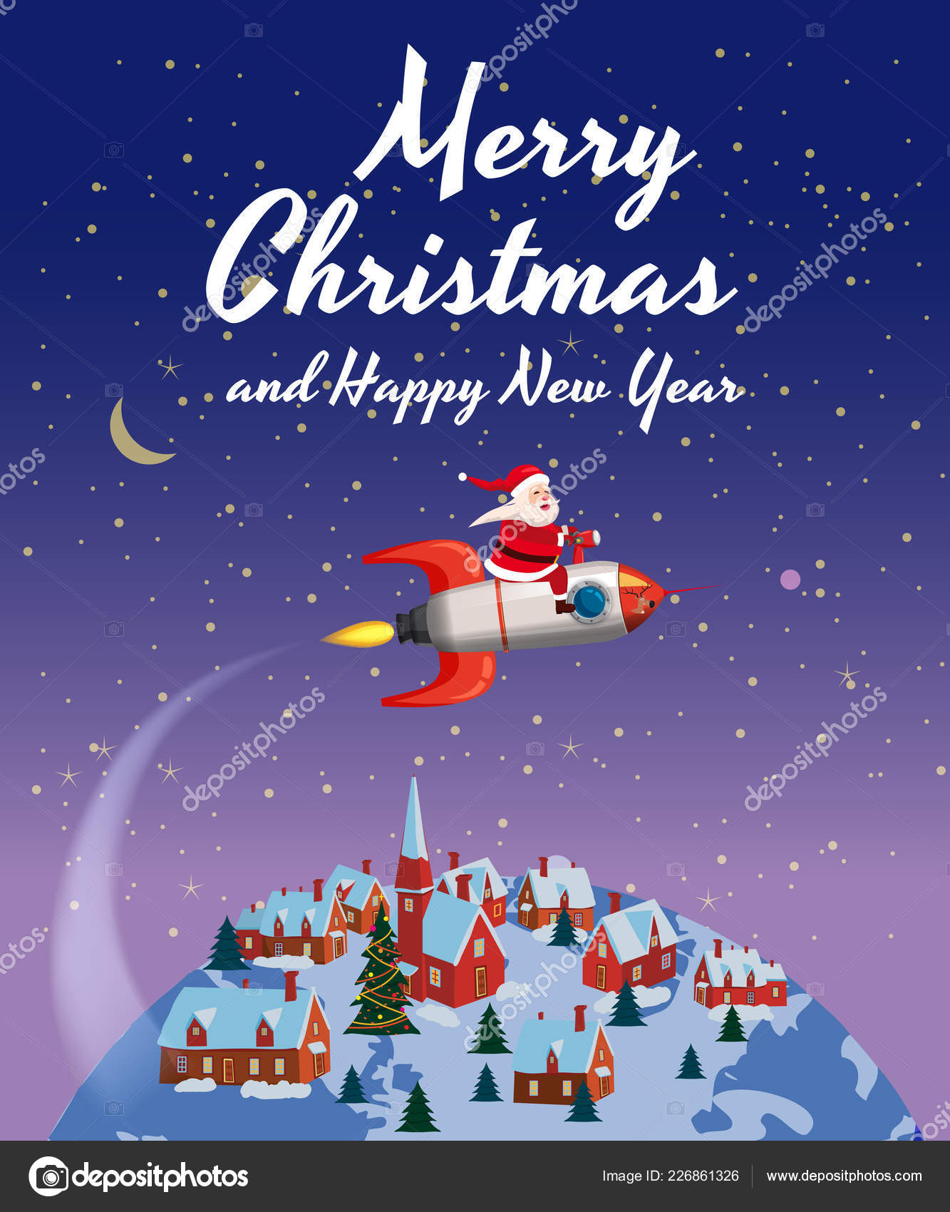 santa claus on a rocket flies in space around the earth merry christmas and happy new year vector by valerihadeev