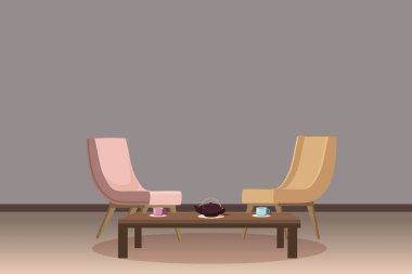 Chairs, tea table, furnitiure, teapot, cups, template for interior, living room, for animation, vector, illustration, isolated, cartoon style