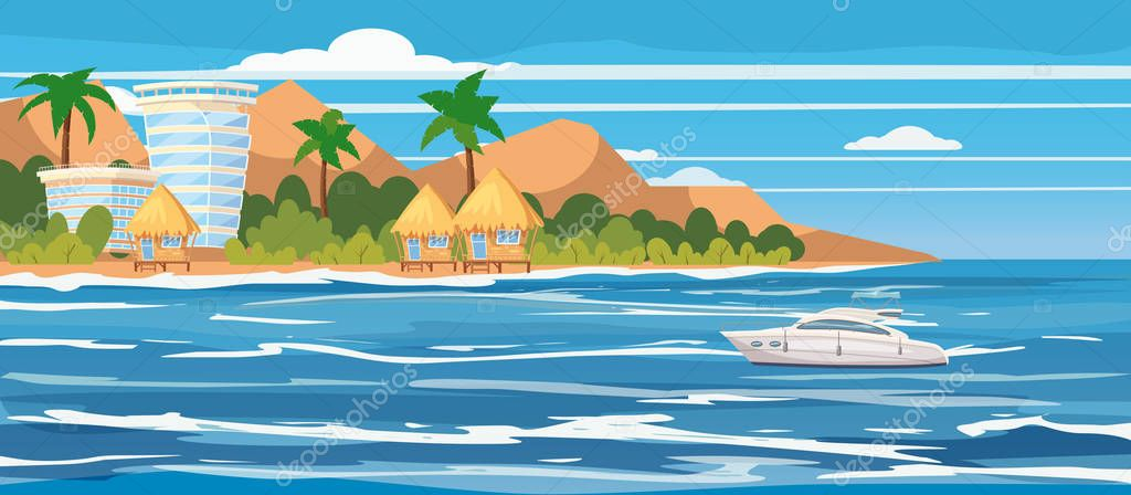 Tropical island, hotels, bungalows, vacation, travel, relax, pleasure boat, seascape, ocean, template, banner, for advertising, vector, illustration, isolated, cartoon style