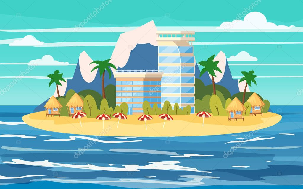 Tropical island, building hotels, vacation, travel, relax, seascape, ocean, beach chair, umbrellas, template, banner, for advertising, vector, illustration, isolated, cartoon style