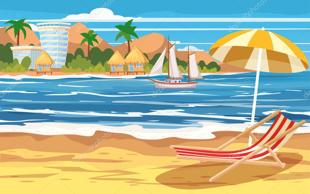 Vacation, travel, relax, tropical beach, island, building hotels, bungalow, beach chair, umbrella, seascape, ocean, template, banner, for advertising, vector, illustration, isolated, cartoon style