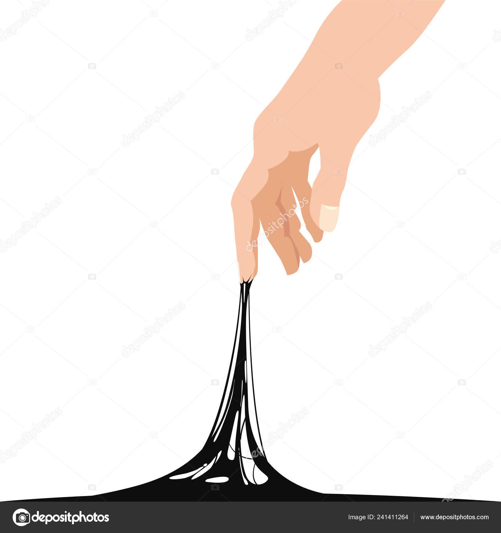 Sticky Slime Reaching Stuck For Hand Black Banner Template Popular