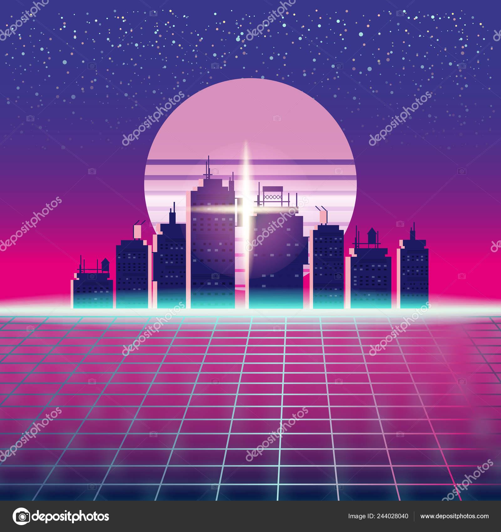 Synthwave Retro Futuristic Landscape With City, Sun, Stars And