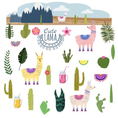 Set Lama Alpaca cacti drinks and decorative. Collection funny elements for decoration, vector, illustration, isolated, cute style