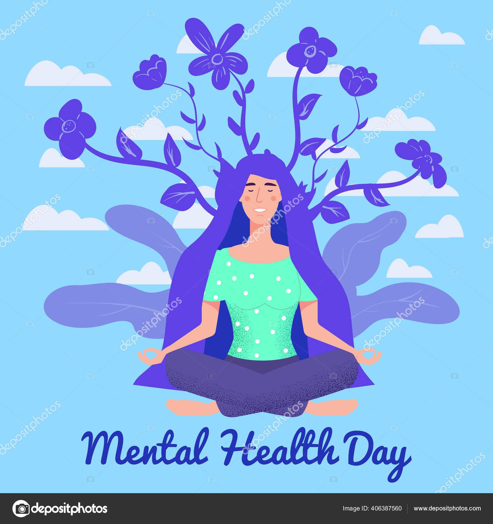 Poster World Mental Health Day Wanita Yong Duduk Di Yoga Teratai Pose Santai Ilustrasi Vektor Konsep Yang Terisolasi Stok Vektor C Valerihadeev 406387560