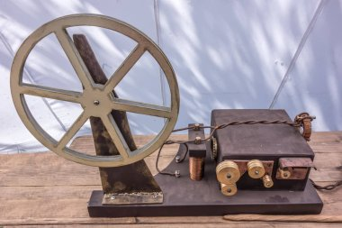 Old vintage telegraph device on wooden table