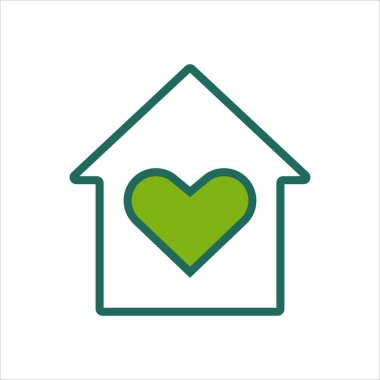 home icon. home icon with heart. home icon concept for mobile and web design, design element. home icon logo illustration.