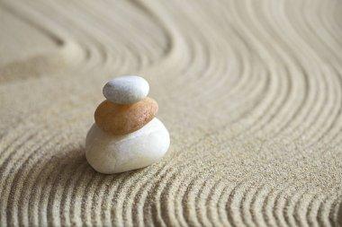 Zen garden with the stack of rocks