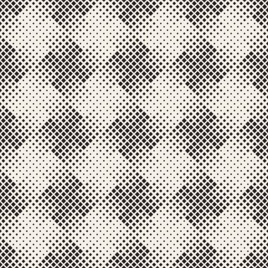Stylish halftone texture. Endless abstract background with random size shapes. Vector seamless vintage mosaic pattern.