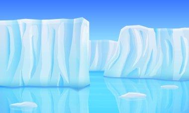 cartoon glaciers in the ocean, vector illustration