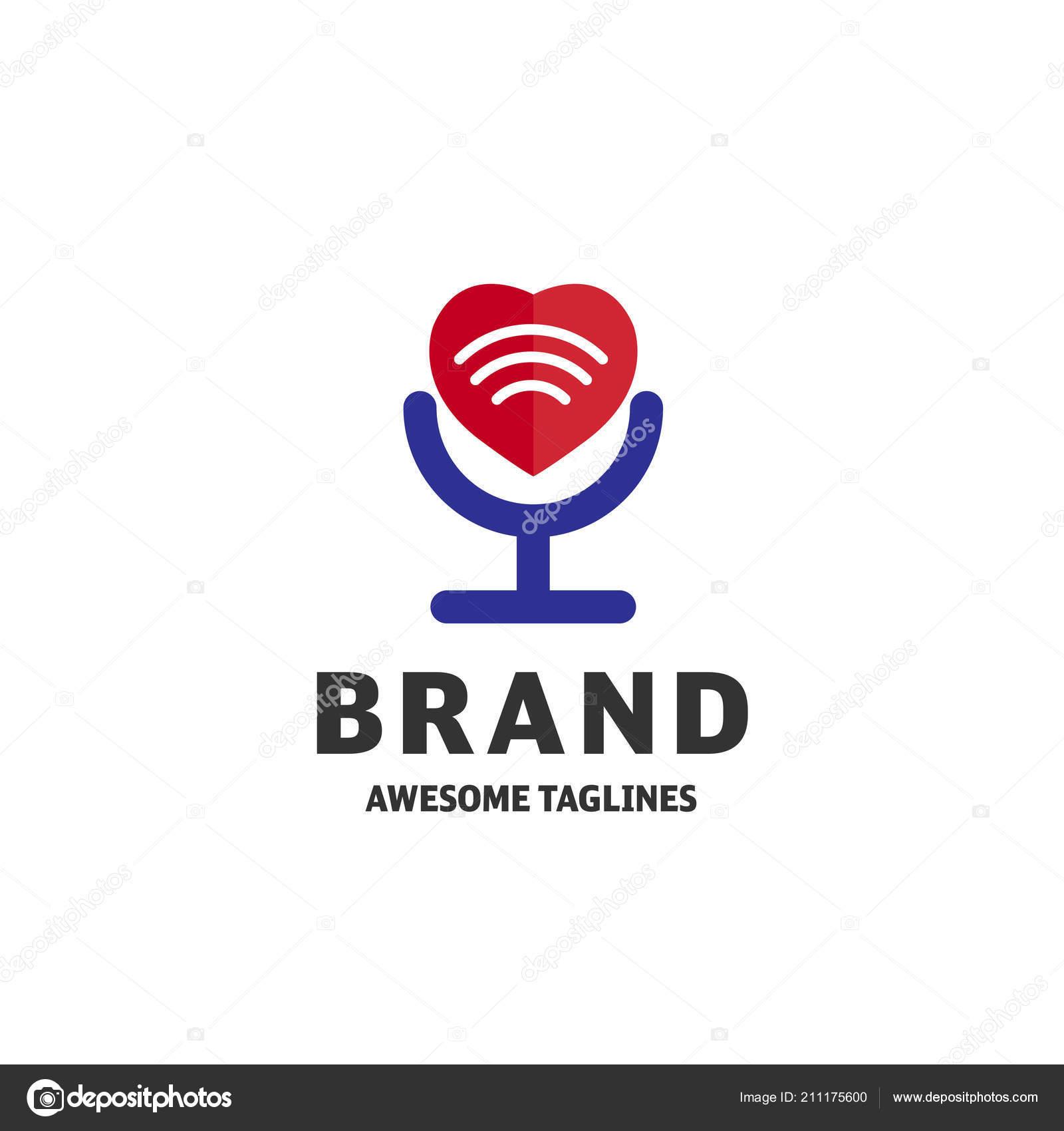 Vector Heart Wifi Logo Combination Love Signal Symbol Icon Unique