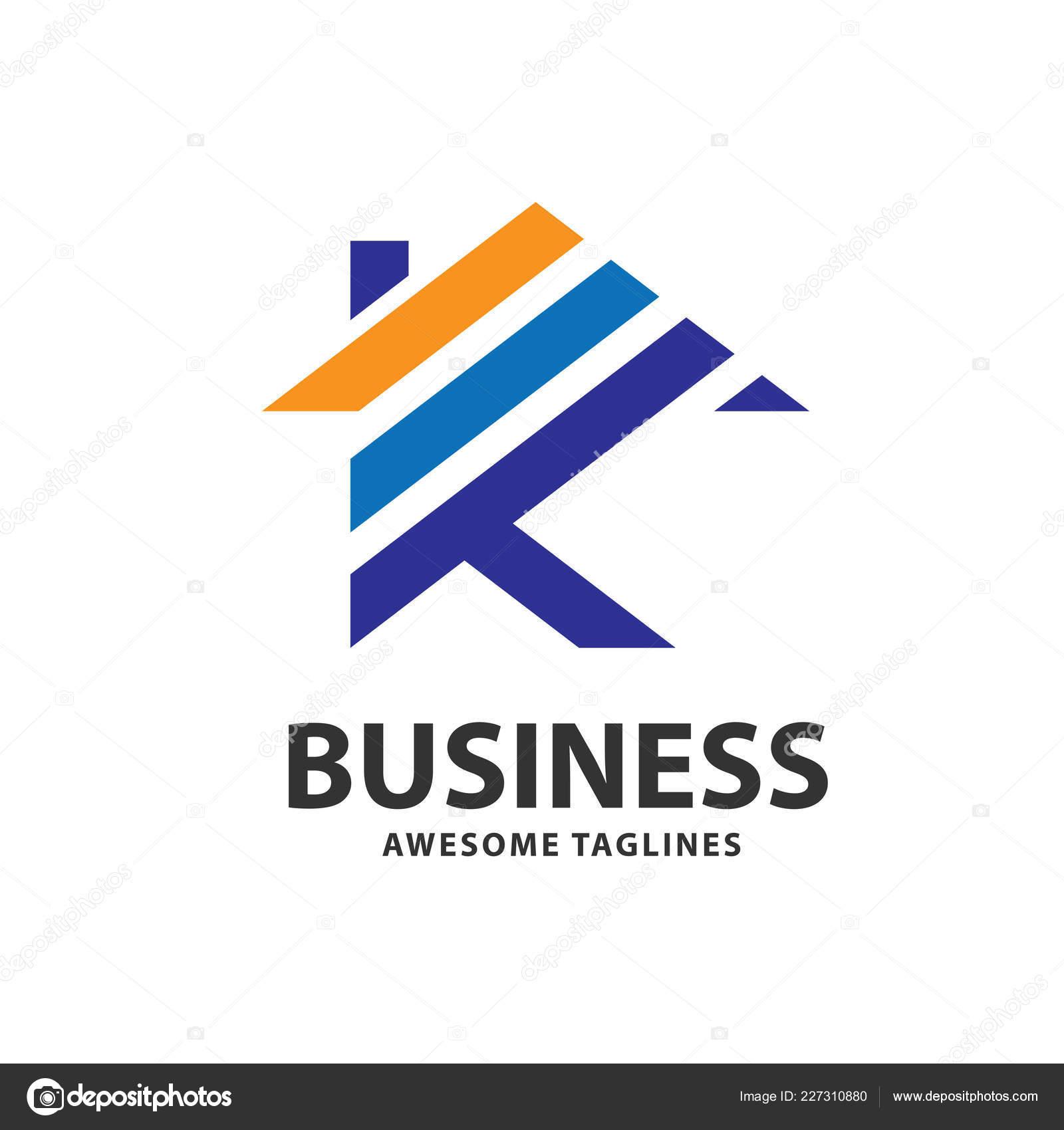 creative letter house strips color logo vector concept real estate
