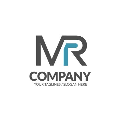 initial letter MR geometric strong monogram logo vector illustration isolated on white background