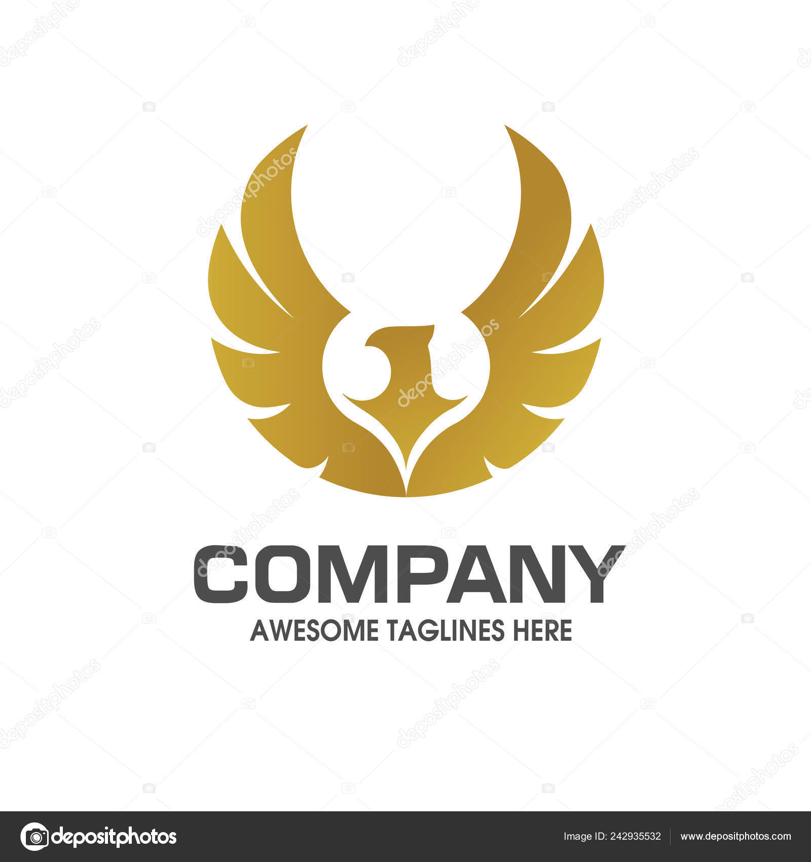 Creative Eagle Wings Gold Color Logo Vector Concept Stock Vector