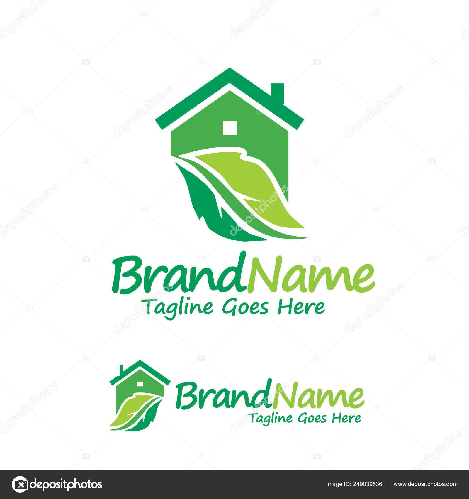 Creative House Green Leaf Logo Design Concept Element Stock Vector C Krustovin 249039536