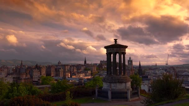 Amazing and beautiful panoramic view at sunset of Edinburgh city, real time, EDINBURGH, SCOTLAND, UK