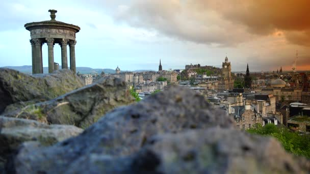 Amazing and beautiful panoramic view at sunset of Edinburgh city, real time, EDINBURGH, SCOTLAND, UK
