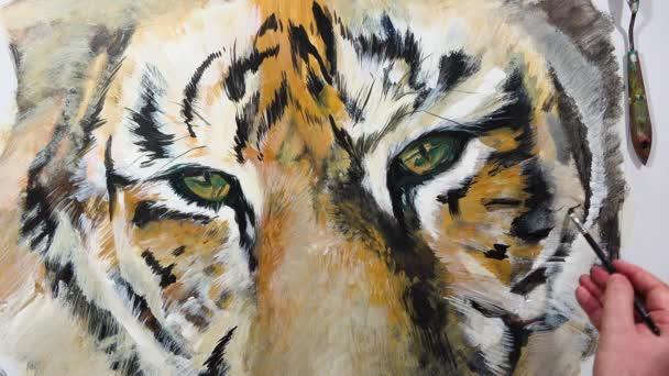 Umělecké ruční malba tygří oka, video session
