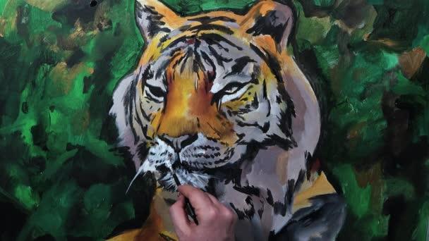 Umělecké ruční malba tygří hlavy, video session