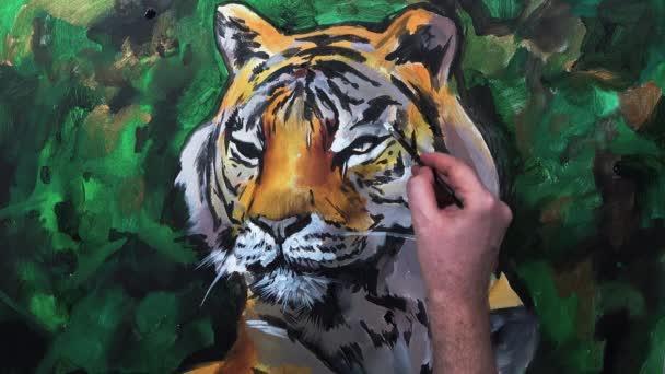 Művészi kézi festés, egy tigris fej, videobeszélgetéshez