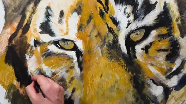 Művészi kézi-festéssel szem egy tigris, videó munkamenetet, idő telik el