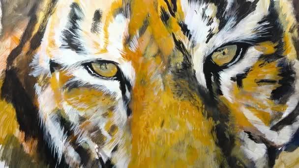 Művészi kézi-festéssel szem egy tigris, videó munkamenetet, idő telik el, animáció,