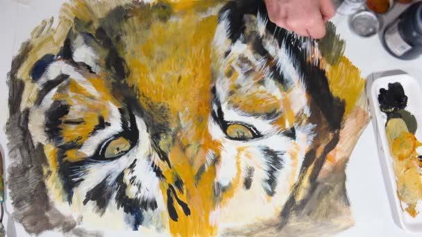Umělecké ruční malba tygří oka, video session, časová prodleva, animace,