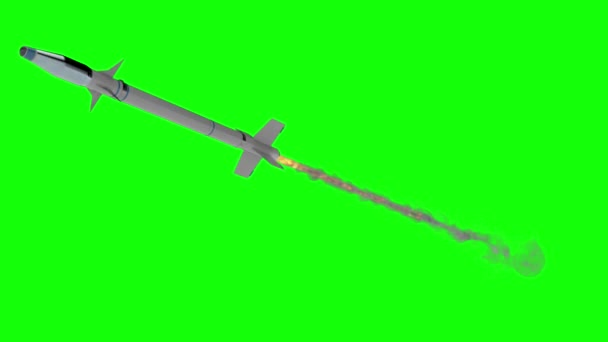 Military Missile Flying on a Green Screen Background