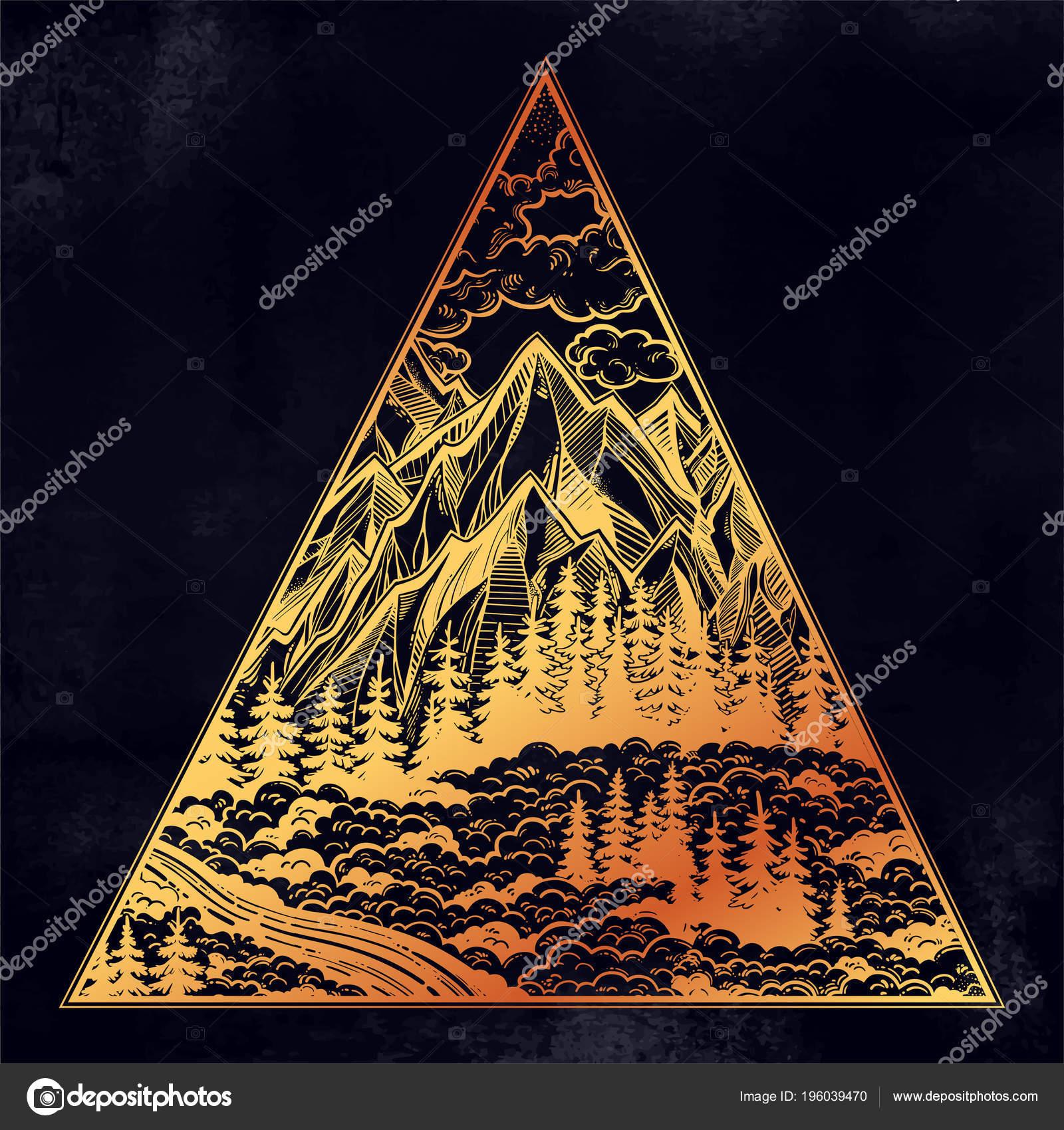 Marco de triángulo con el paisaje de bosques y montañas — Vector de ...