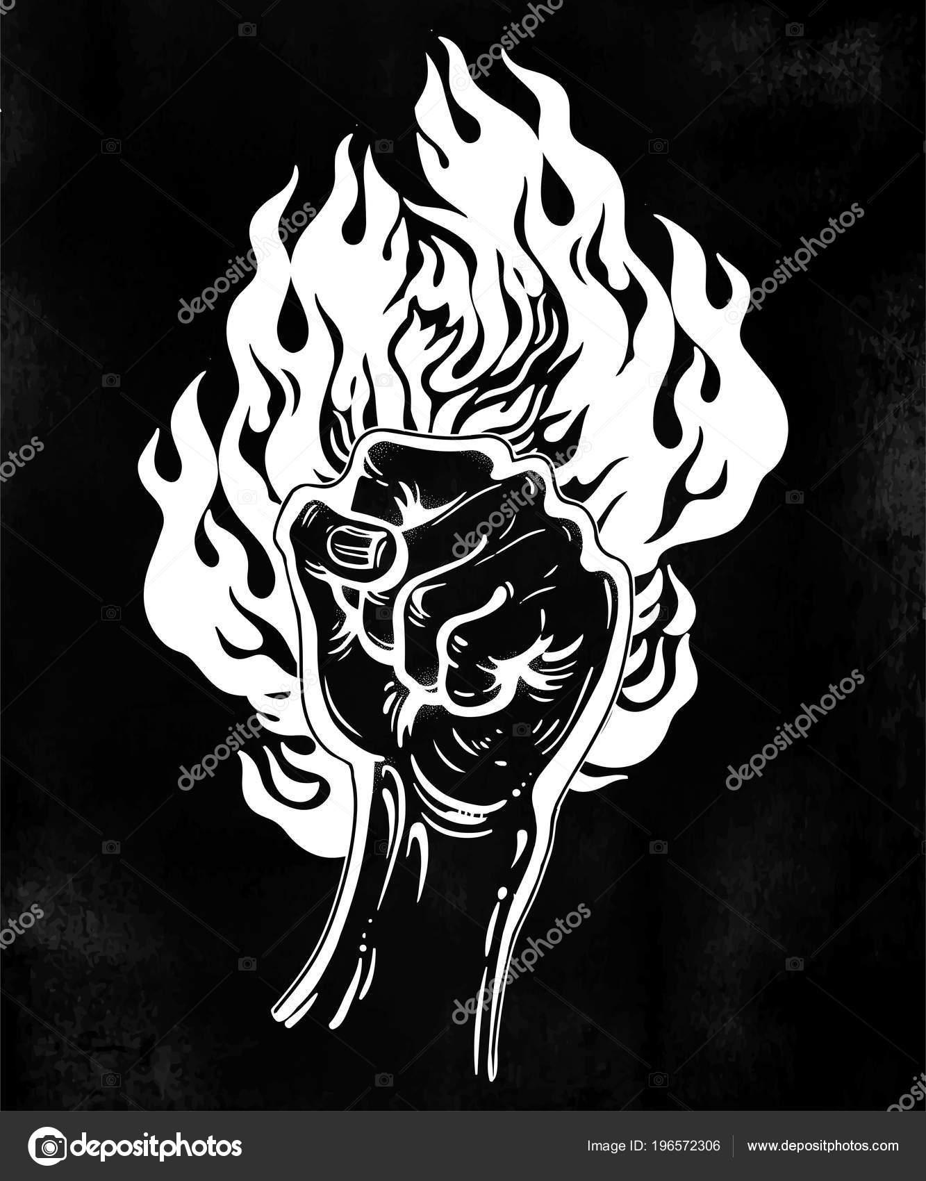 Mano Levantada Tinta Como Un Gesto De Puño Con Fuego Ardiente En