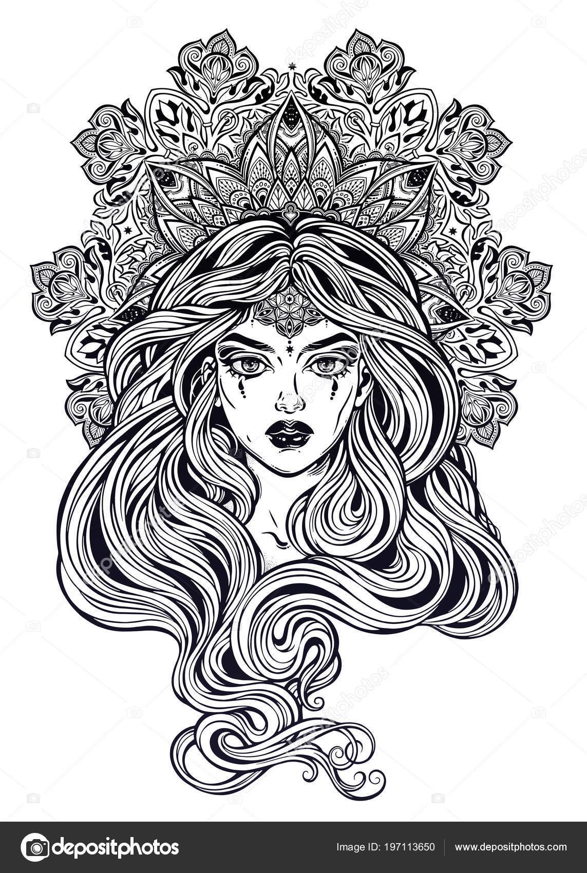 Art Nouveau Tarzında Süslü Mandala Ile Güzel Uzun Saçlı Kız Stok