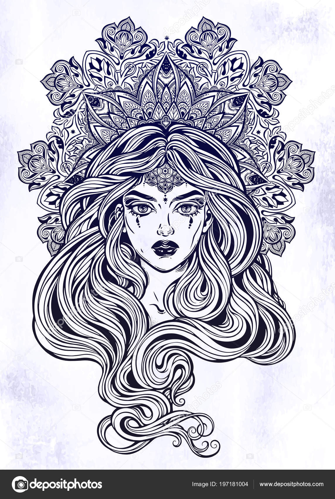 Girl With Beautiful Long Hair In Art Nouveau Style With Ornate