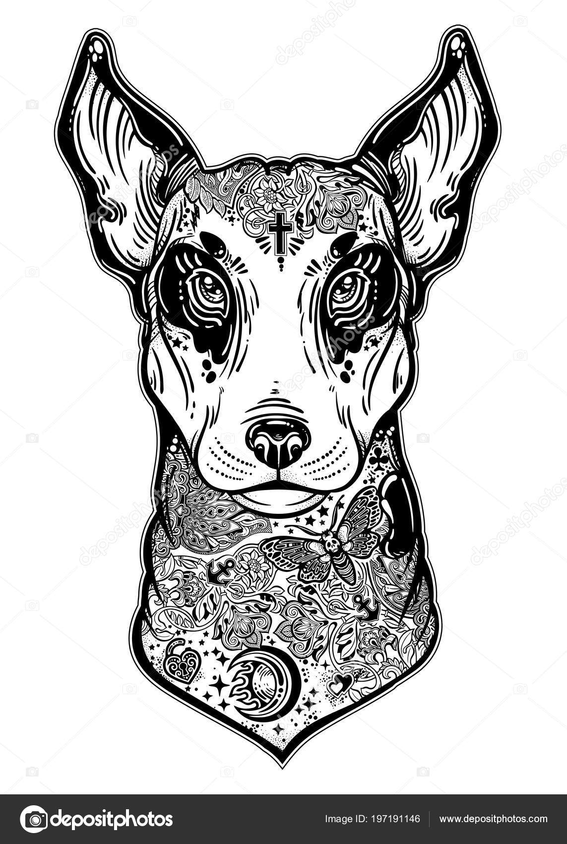 Styl Vintage Bull Terrier Tatuaże Flash Sztuki Grafika