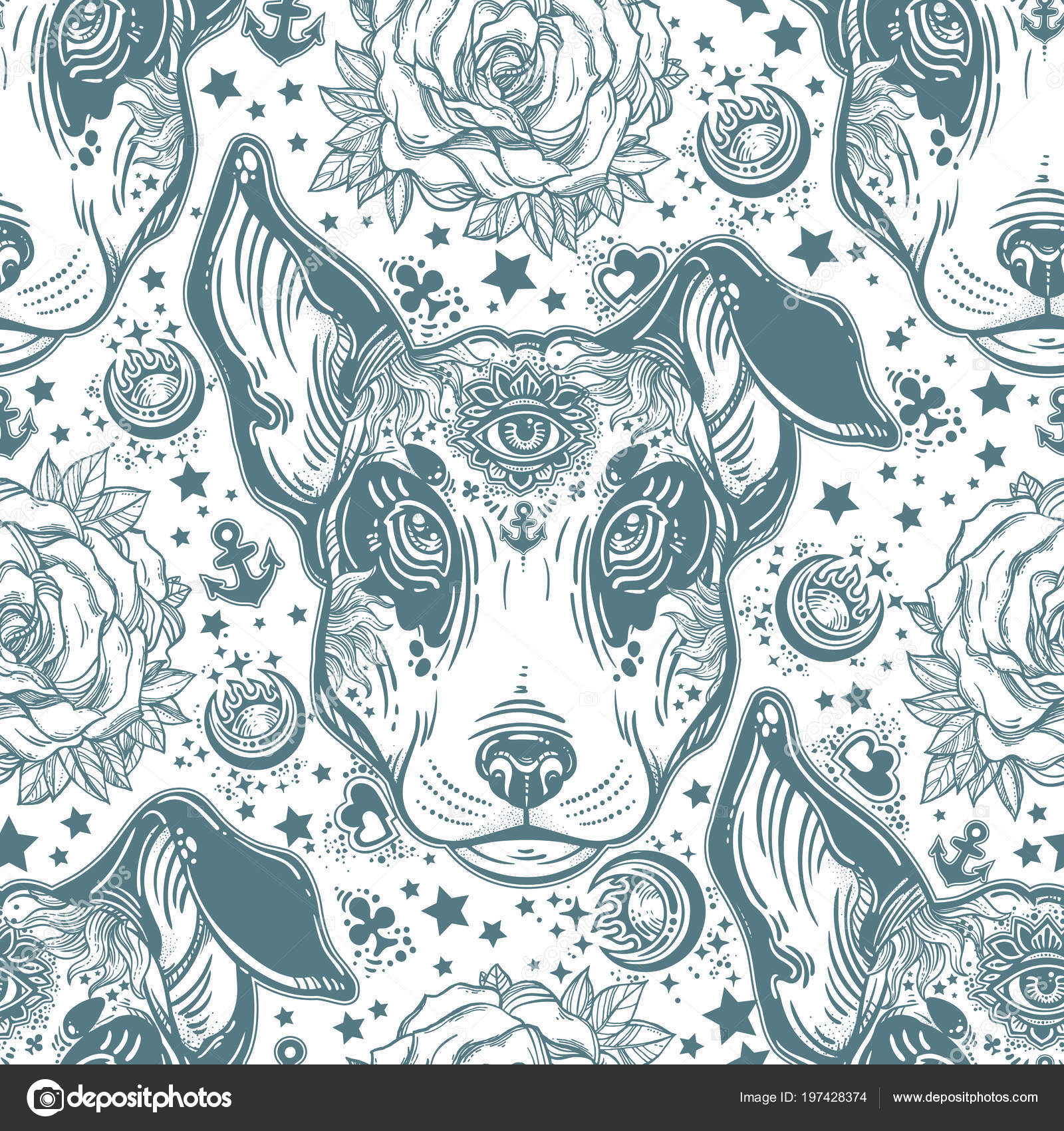 Vintage Style Traditional Tattoo Flash Terrier Dog Seamless Doodle