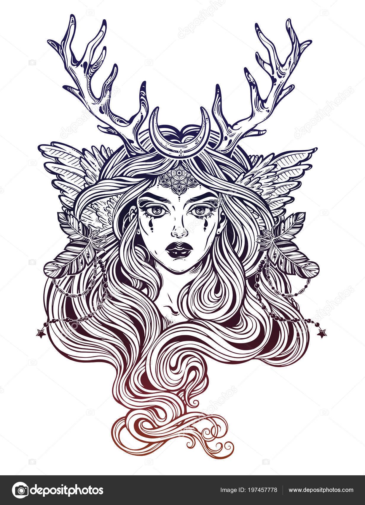 Schamane Magische Elfenfrau Hirsch Antlerss Mit Langen Haaren