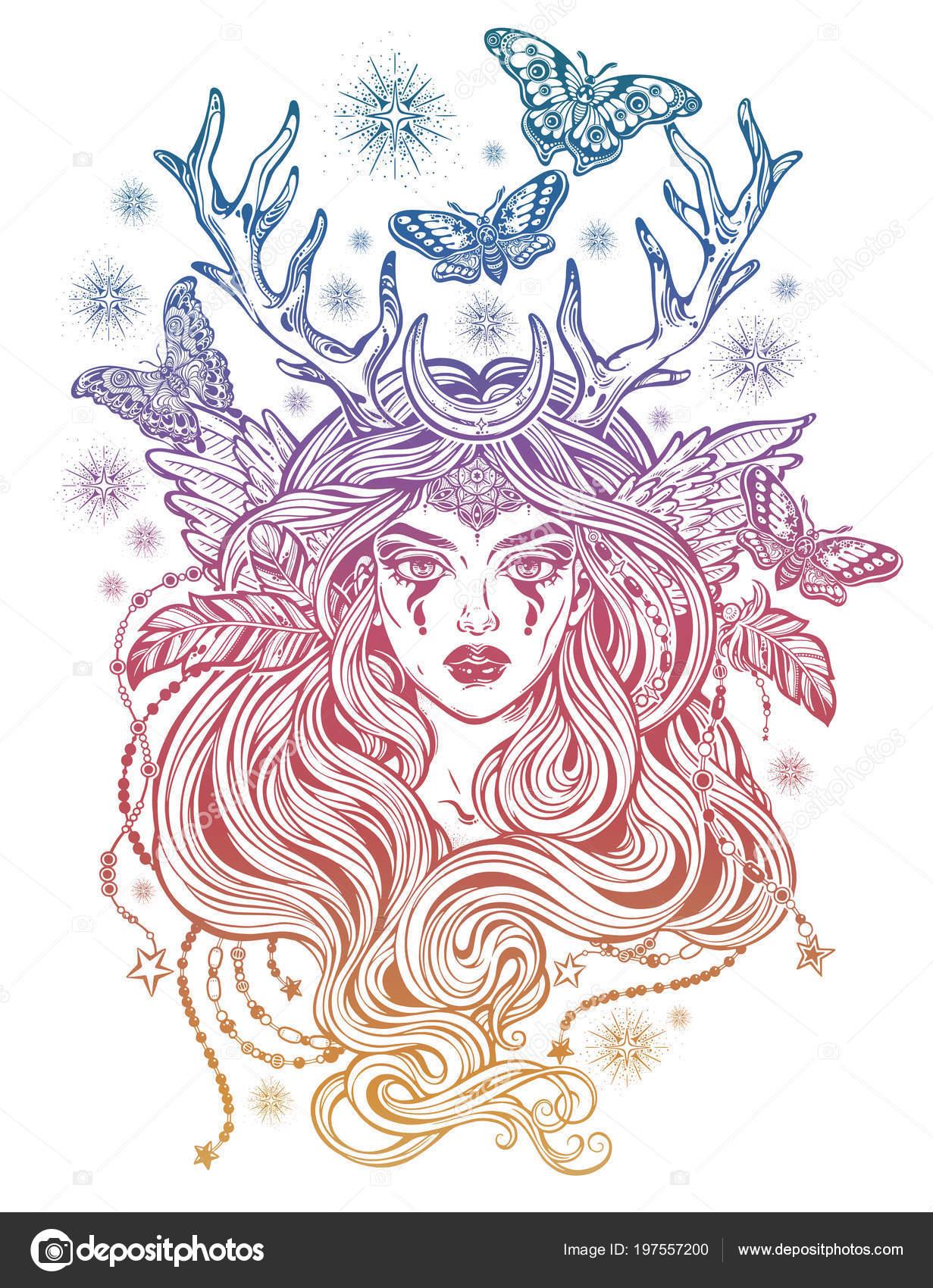 Schamane Magische Elfenfrau Mit Hirschgeweih Und Langen Haaren