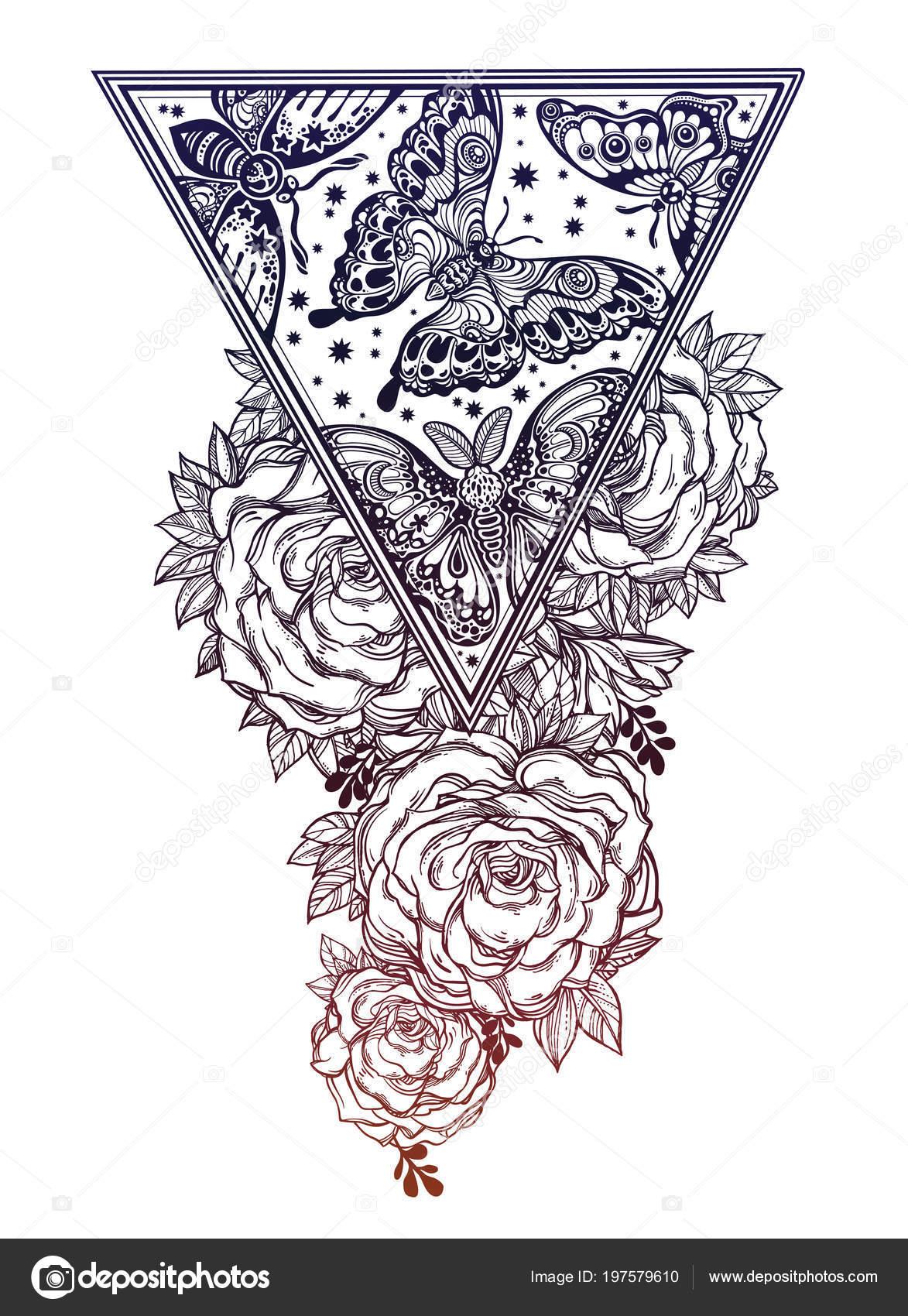 Vintage Floral Highly Detailed Hand Drawn Rose Flower Stem