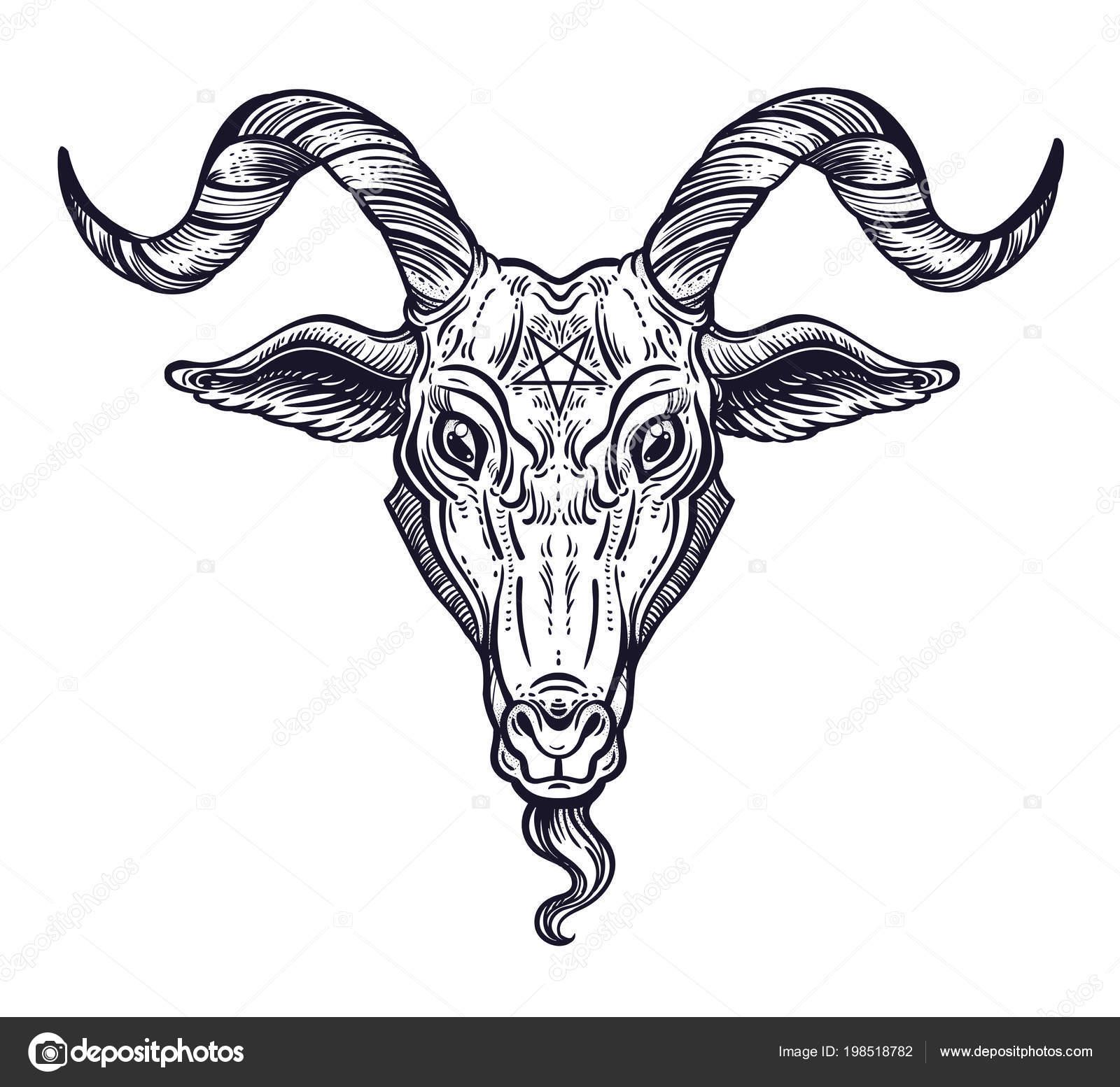 Pentagram In The Head Of Demon Baphomet Satanic Goat Head Binary