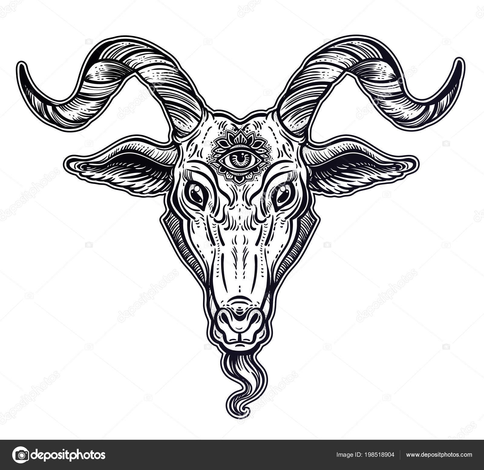 Demon Goat Baphomet With Sacred Occult Eye Satanic Goat