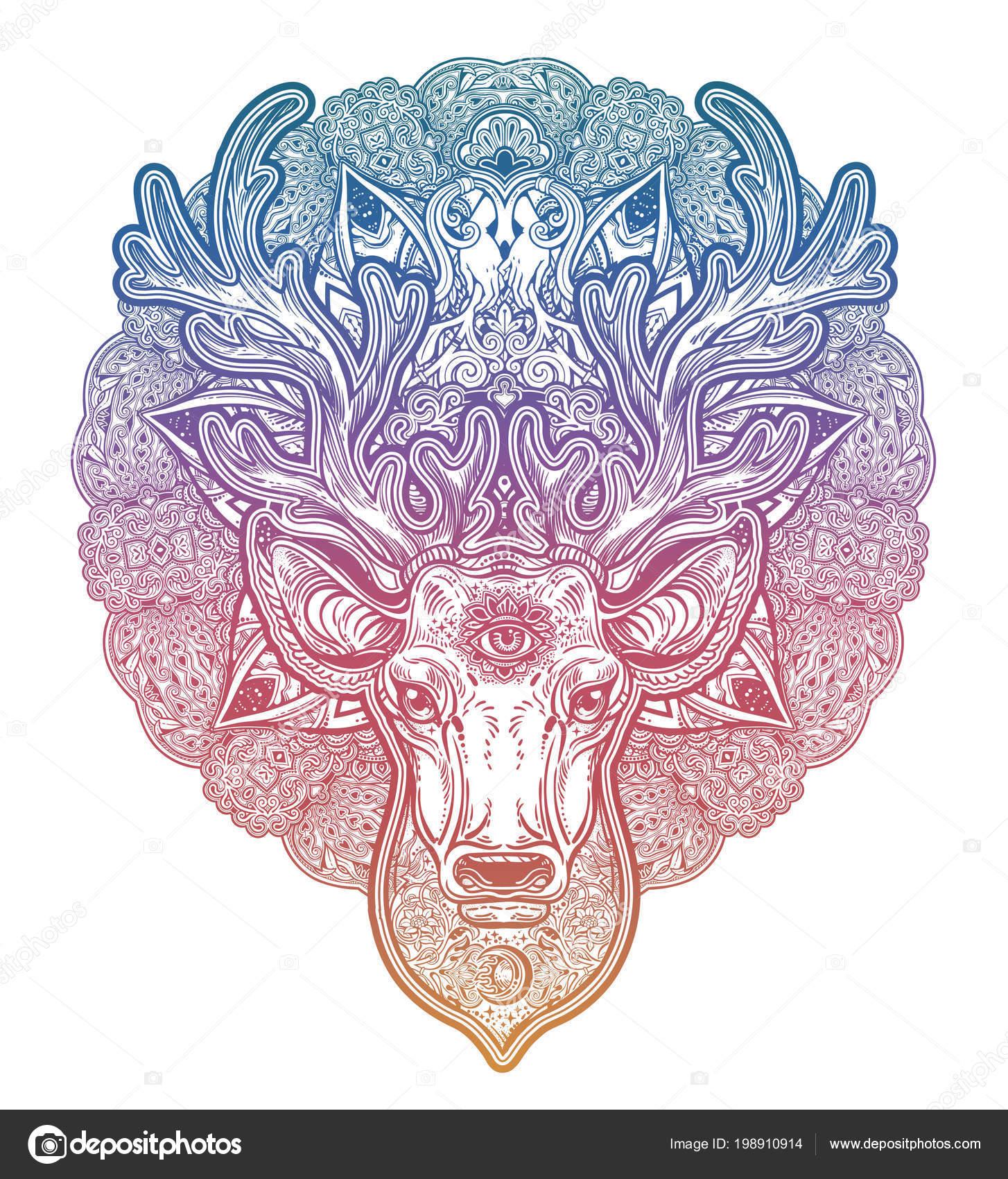 Venado Mandala Colorido Cabeza De Venado Adornada Con Hermosas