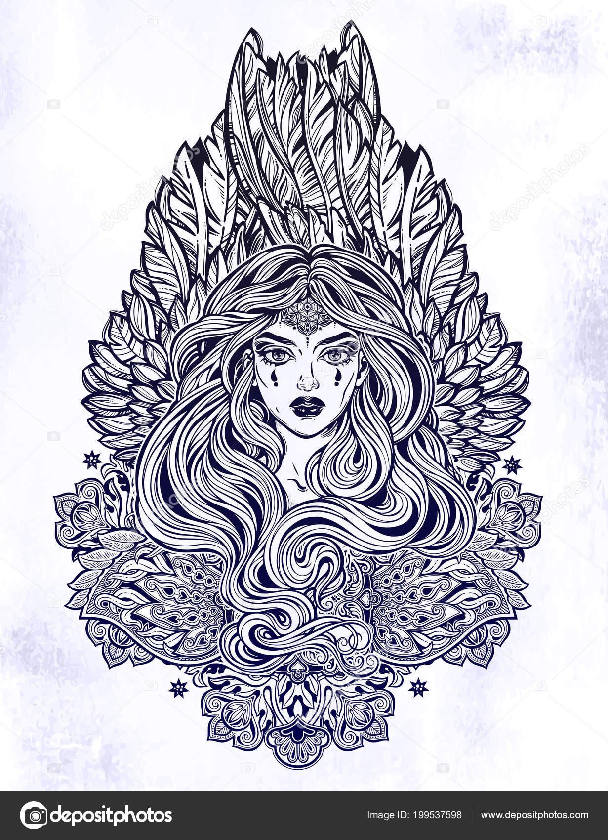 Melek Kanatları Ve Uzun Saç Ve Süslü Dekorasyon Sihirli Kadınla