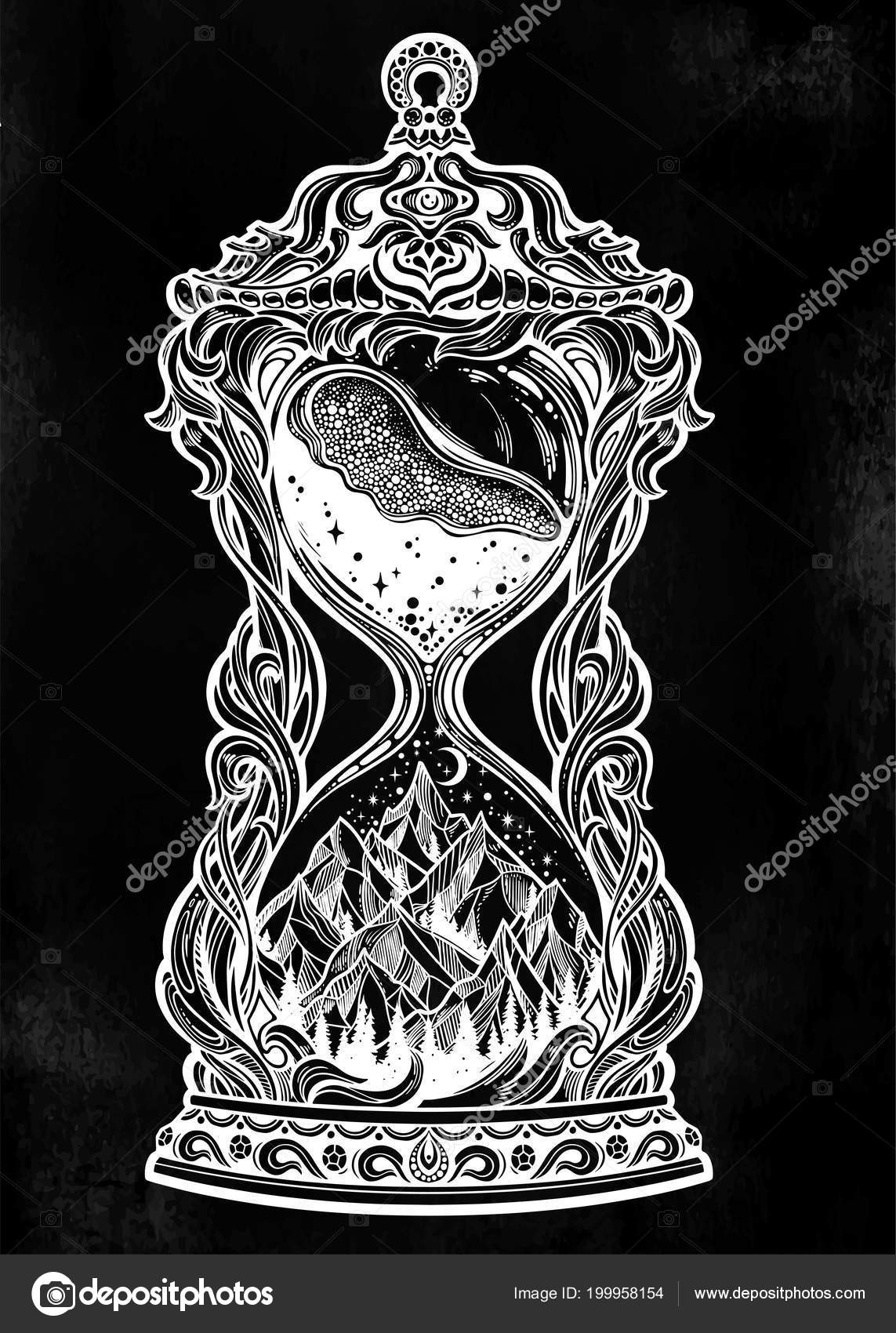Decorative Antique Hourglass With Mountains Stars And Moon Illustration Hand Drawn Sand Clock Isolated Vector Art Time Fantasy Concept