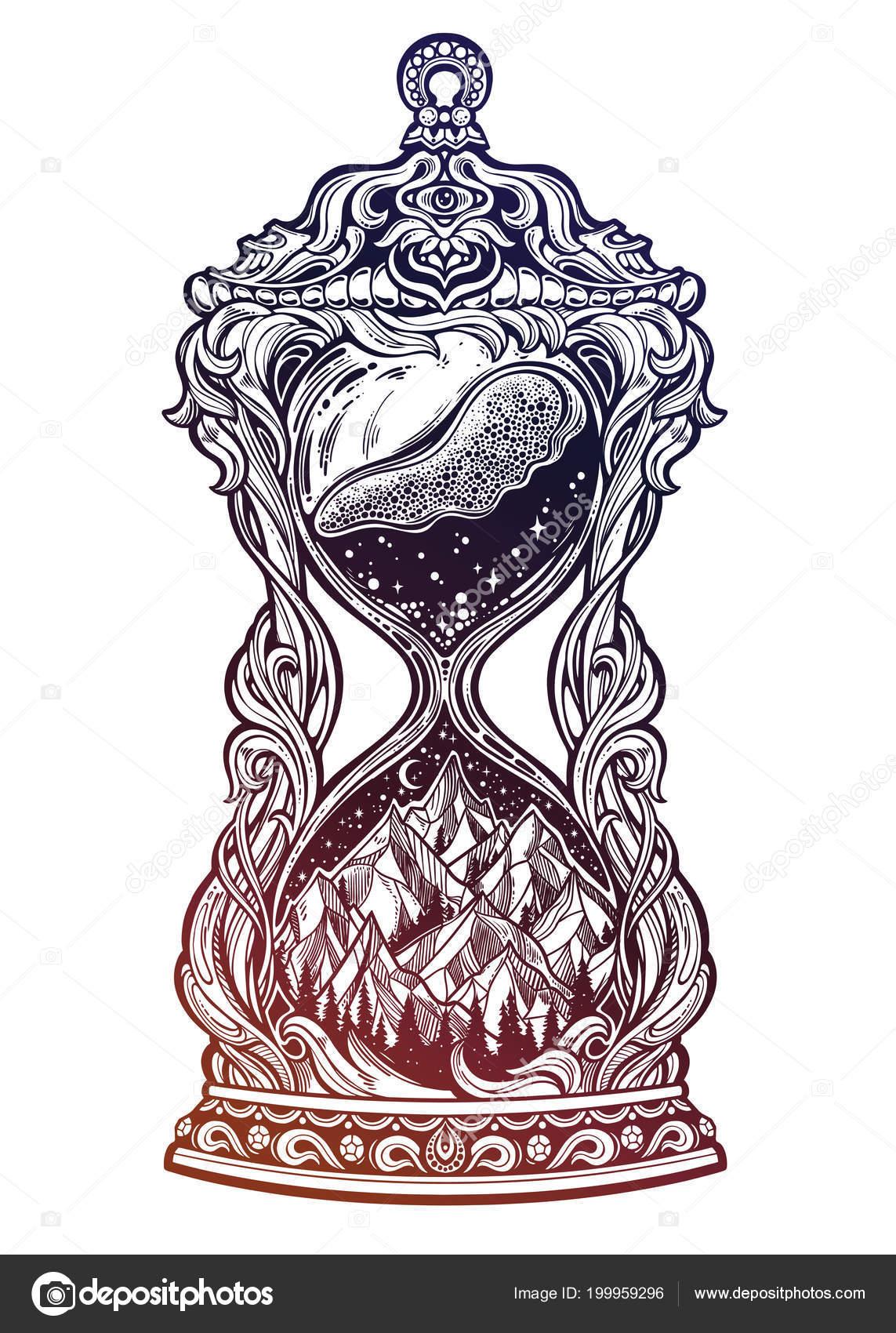 Diseños De Relojes Antiguos Para Tatuar Reloj De Arena Con