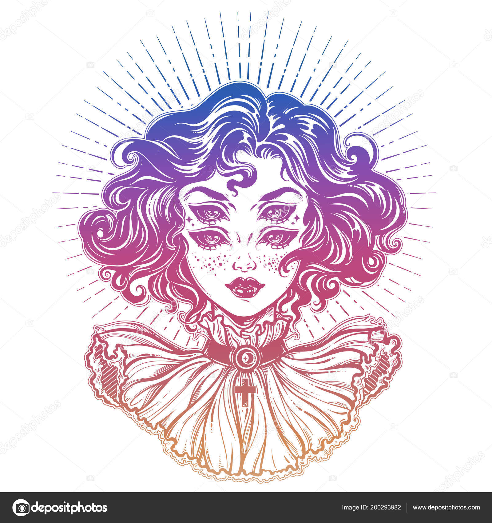fc8426052f346 Gothic devil vempire like witch girl head portrait with curly hair and four  eyes. Halloween, tattoo, weird, psychedelic art for print, posters,  t-shirts and ...